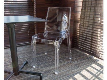 Priehľadná stolička Cristal Light: priehľadná
