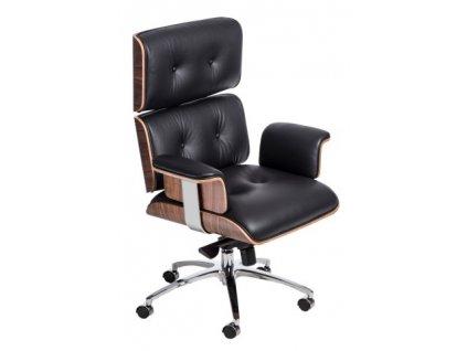 Kancelárske kreslo VIP čierna koža, dyha orech, chróm