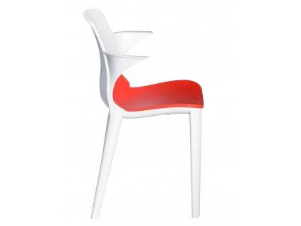 Stolička s podložkou lýza bielo - červená
