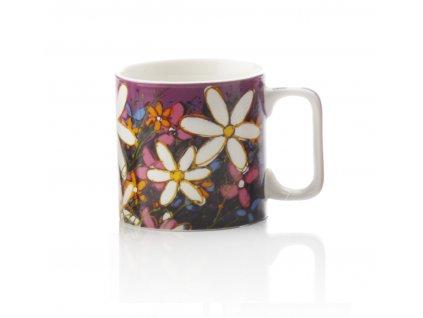 Love Life hrnček, fialový, biela kvetina