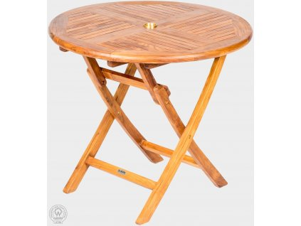 Teakový skladací stôl priemer 90 cm VASCO