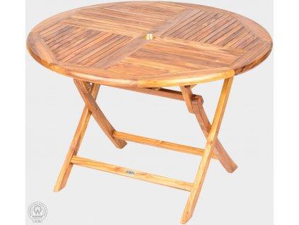 Teakový skladací stôl priemer 120 cm VASCO