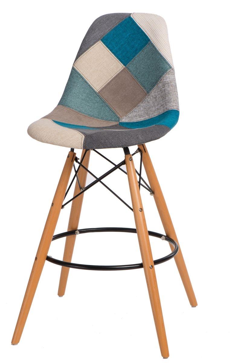 Barová stolička P016V Patchwork modrá