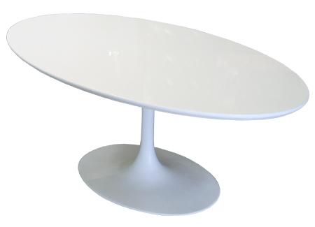 Stôl Fiber ovál 200-120 biely MDF