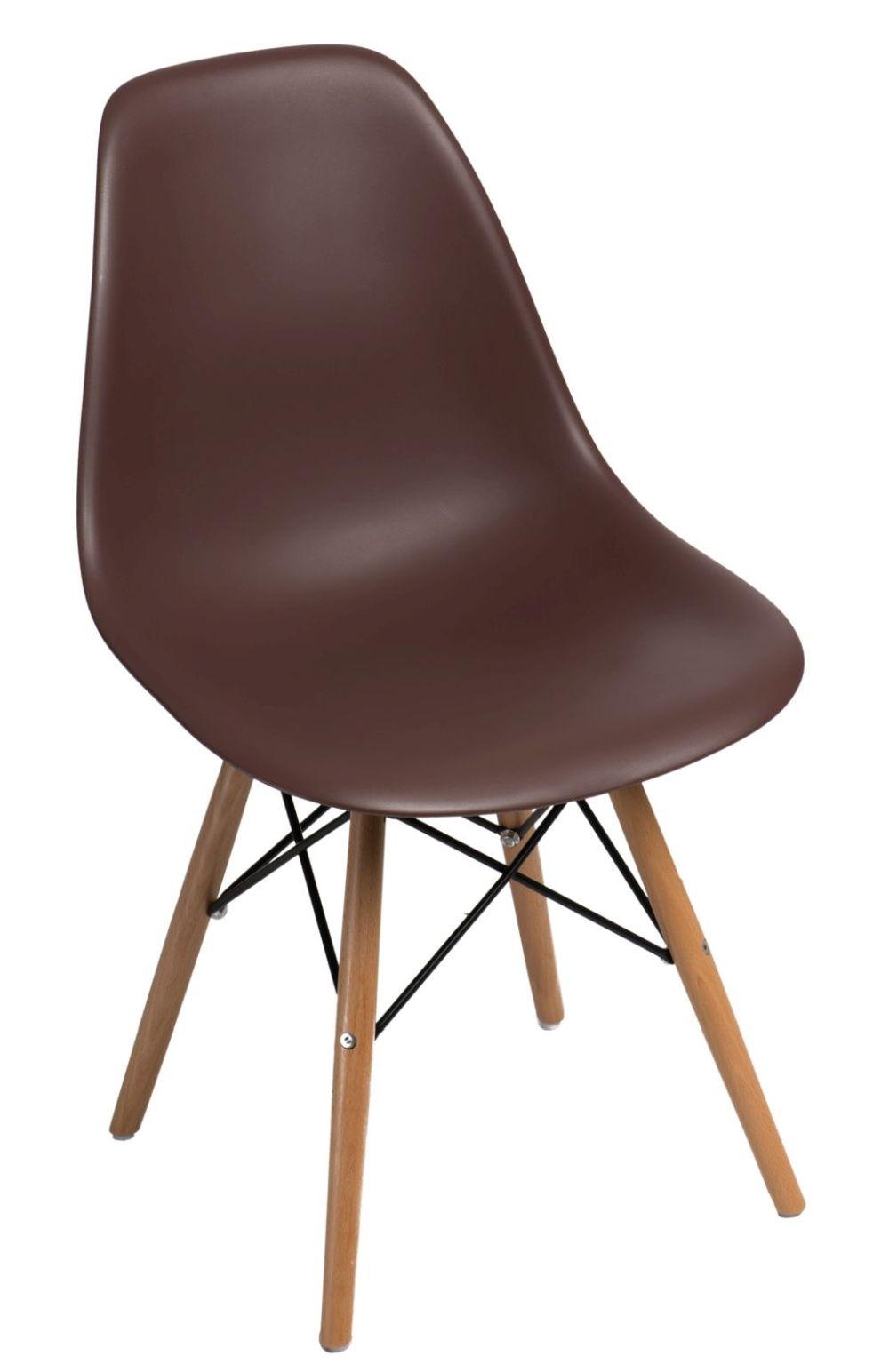 Stoličky P016V PP hnedá, drevené nohy
