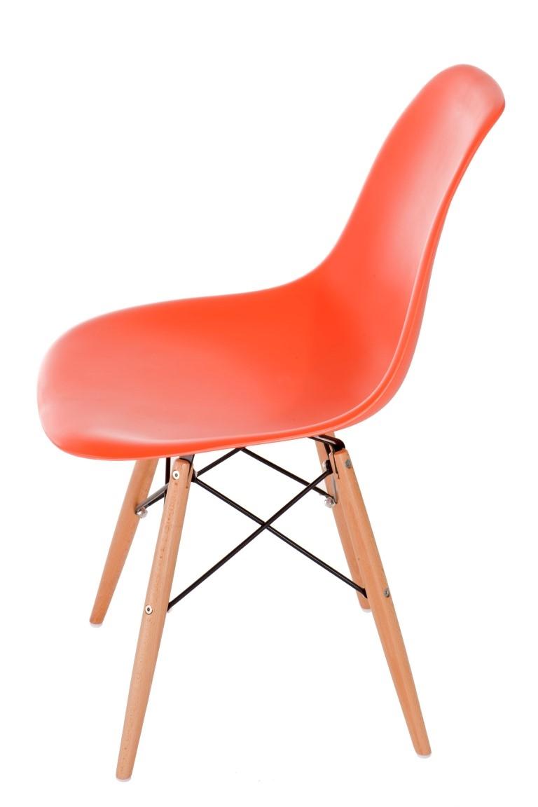 Stoličky P016V PP oranžová, drevené nohy