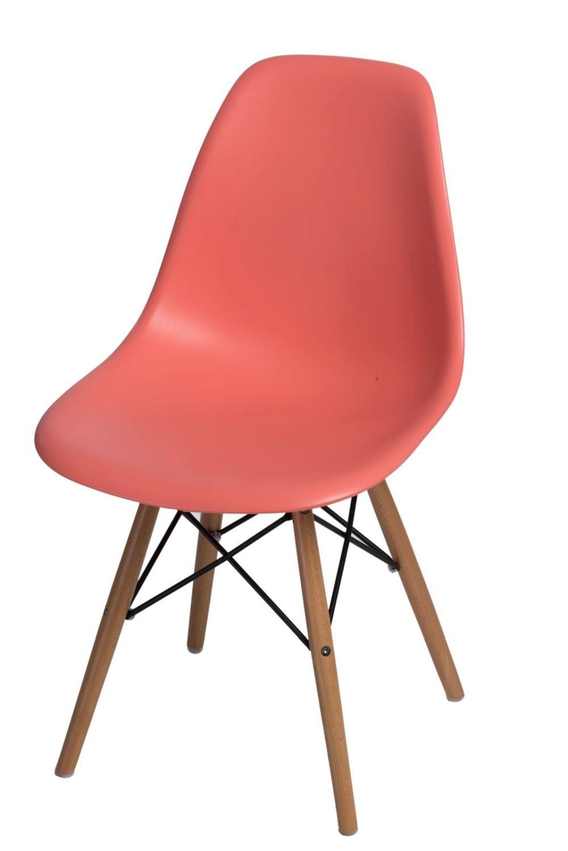 Stoličky P016V PP tmavá broskyňová, drevené nohy