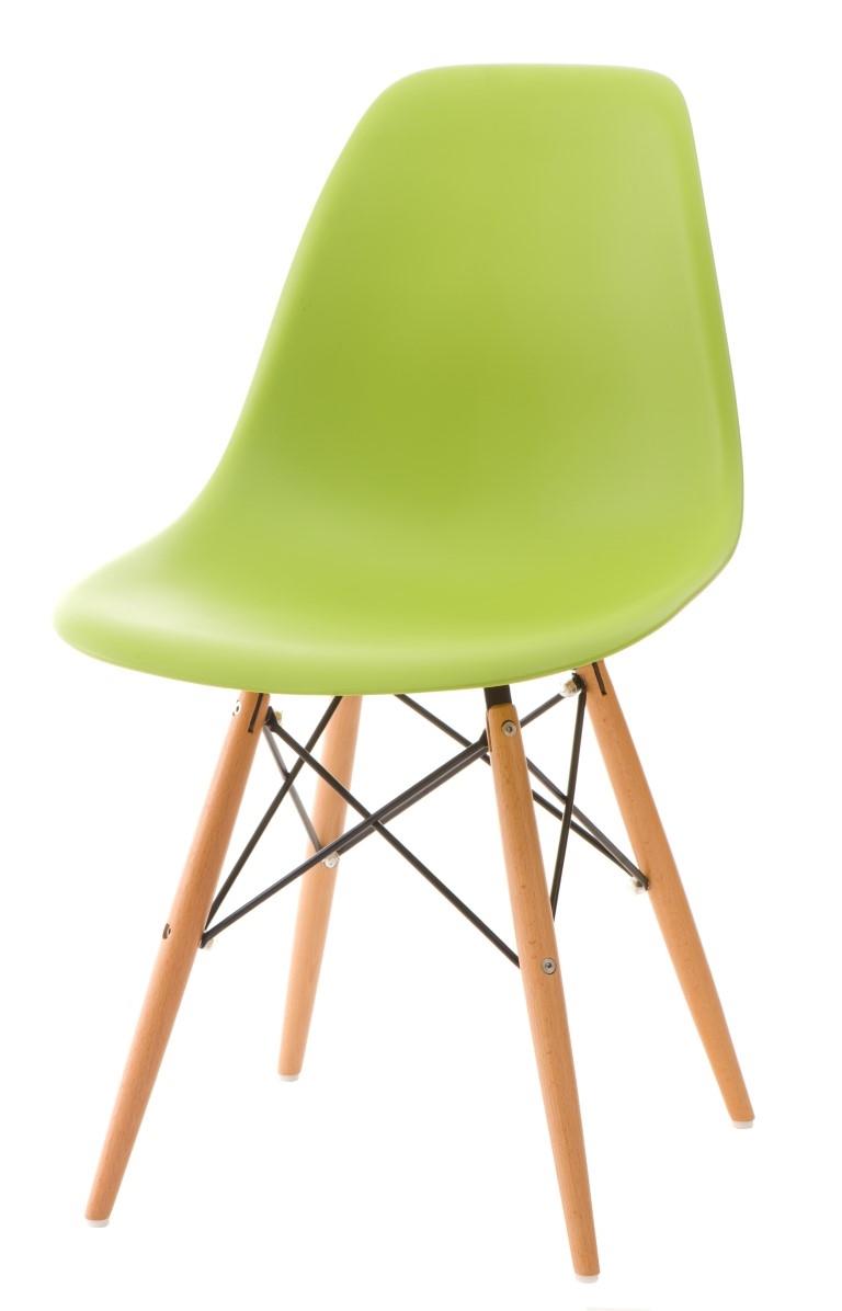 Stoličky P016V PP zelená, drevené nohy