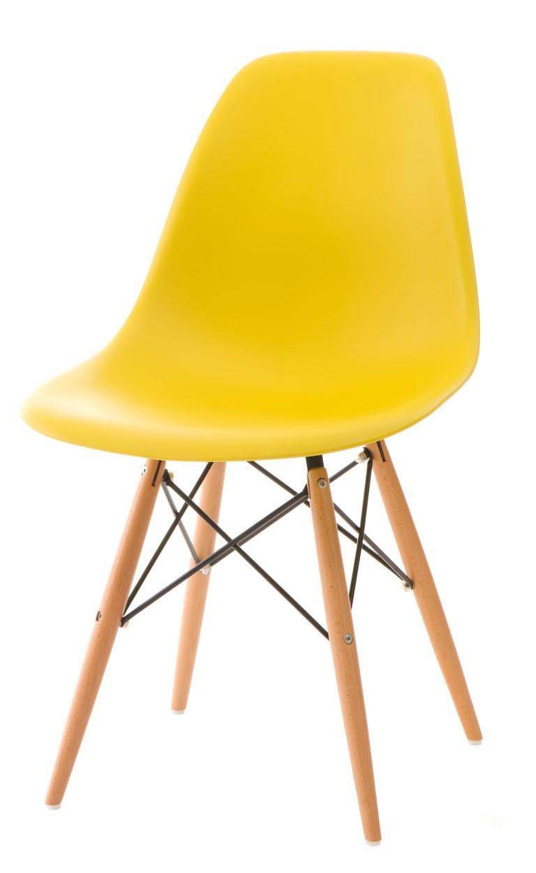 Stoličky P016V PP žltá, drevené nohy