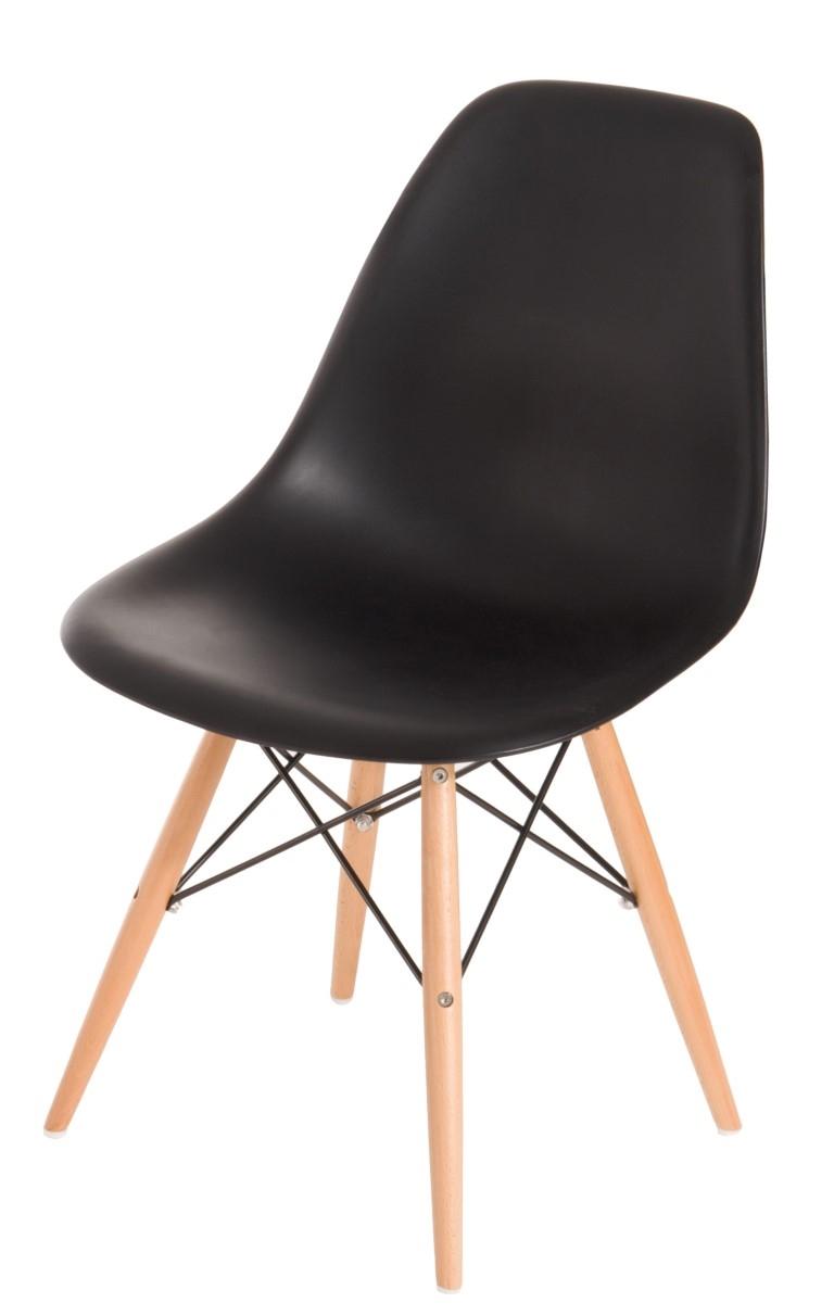 Stoličky P016V PP čierna, drevené nohy