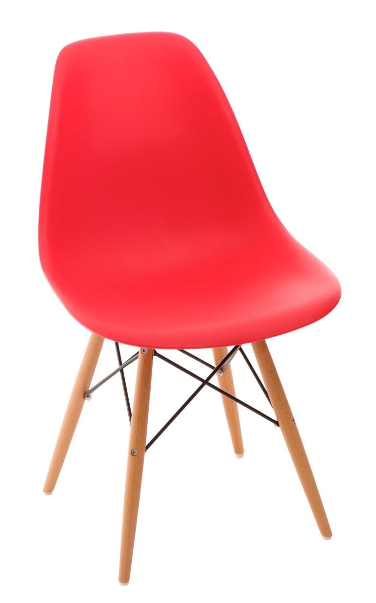 Stoličky P016V PP červená, drevené nohy