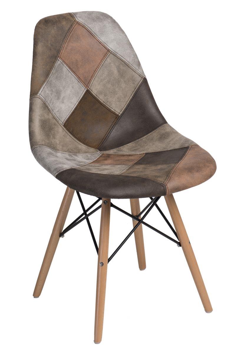 Stoličky P016V patchwork béžová - hnedá