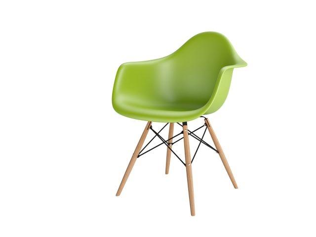 Stoličky P018V PP zelená, drevené nohy HF