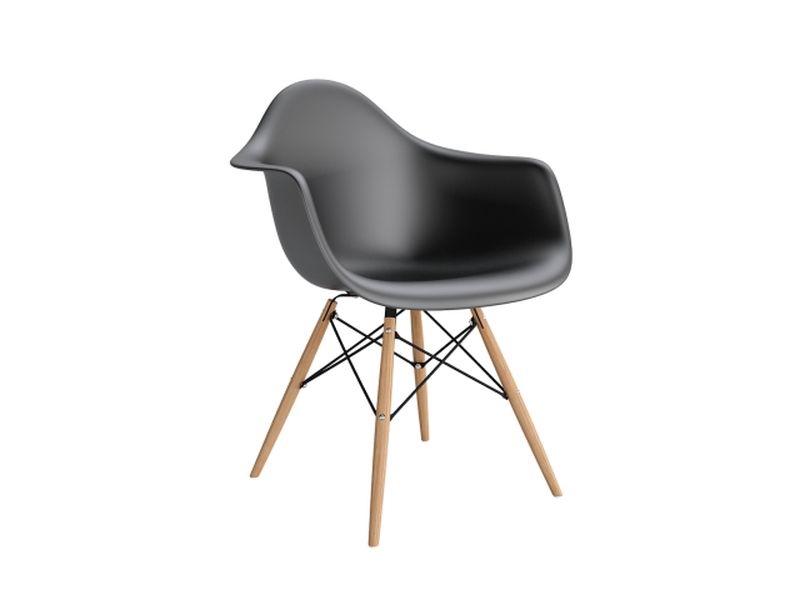 Stoličky P018V PP čierna, drevené nohy