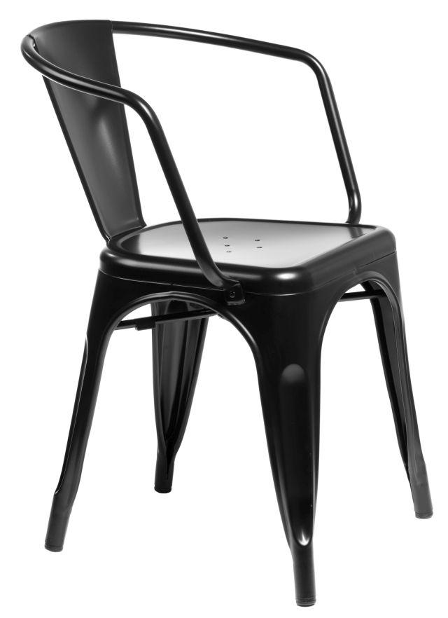 Stoličky Paris Arms čierna inšpirované Tolix