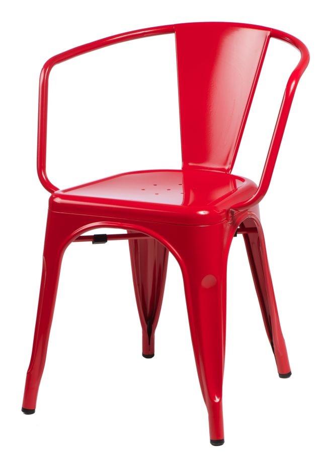 Stoličky Paris Arms červená inšpirované Tolix