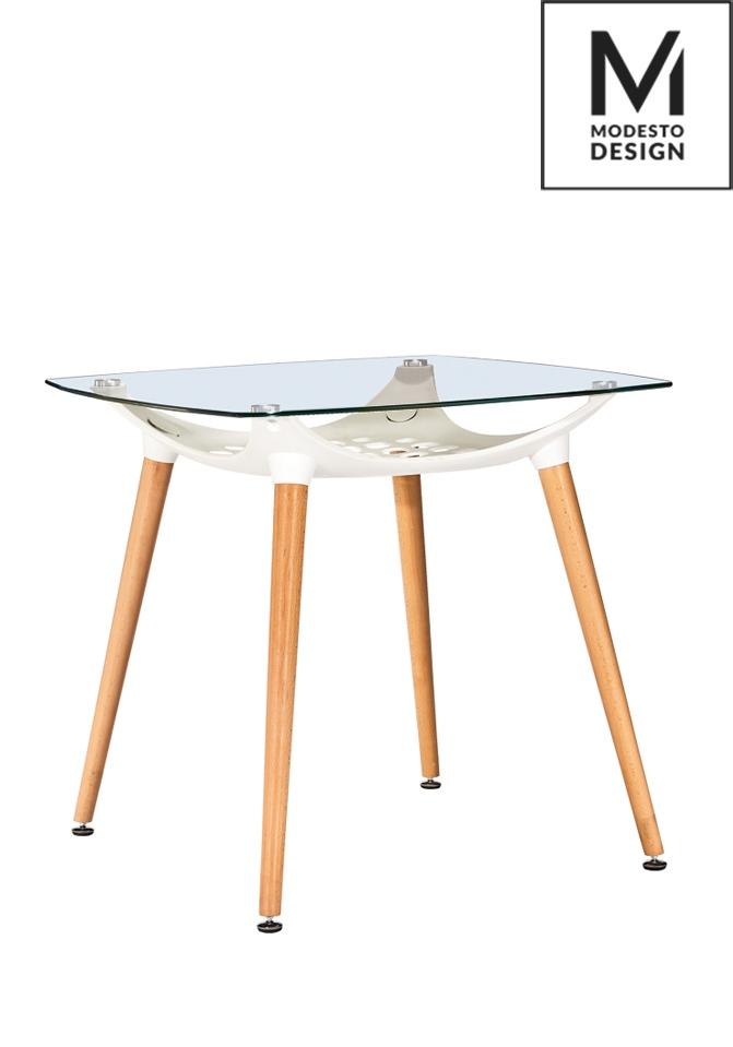 MODESTO stôl HIDE SQUARE biely - doska sklo, kovový základ