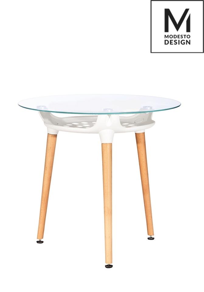 MODESTO stôl HIDE * 80 biely - doska sklo, kovový základ