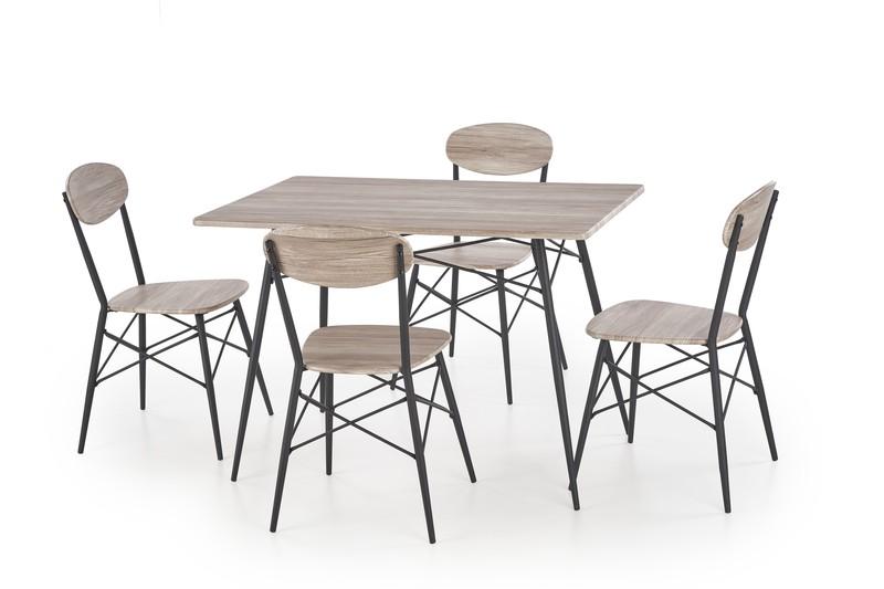 Halmar Kabir obdĺžnikový sada stôl + 4 stoličky dub san remo / čierna