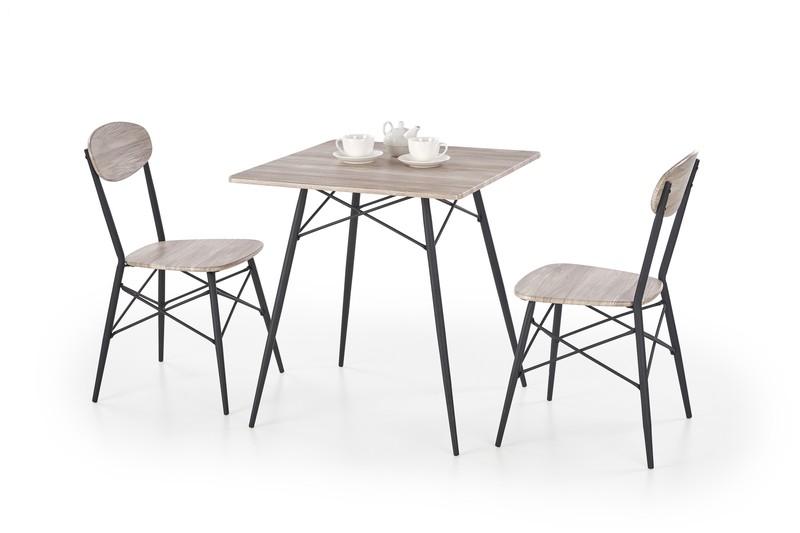 Halmar Kabir štvorcový sada stôl + 2 stoličky dub san remo / čierna