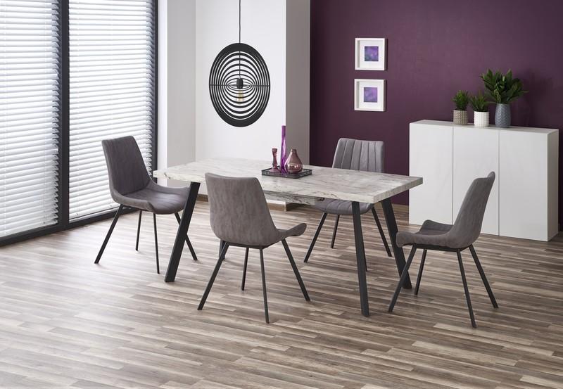 DALLAS stôl rozkladací čierna kostra, doska - mramor