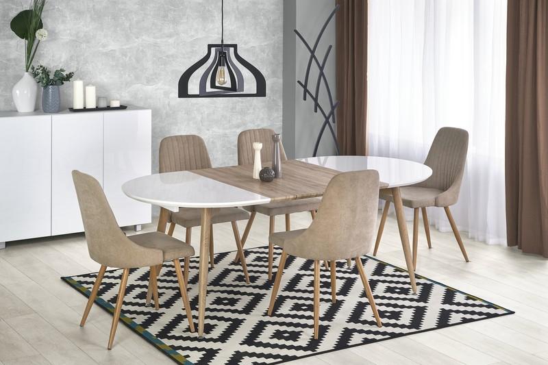 EDWARD stôl rozkladací biely / dub san remo