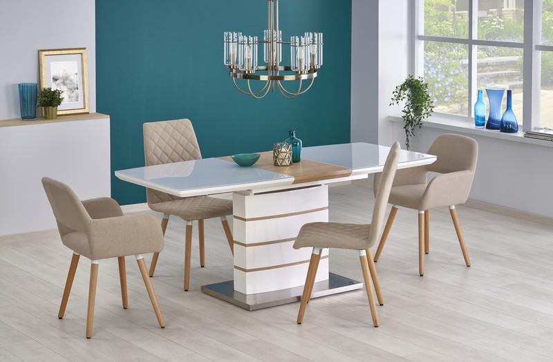 TORONTO stôl rozkladací biely / zlatý dub