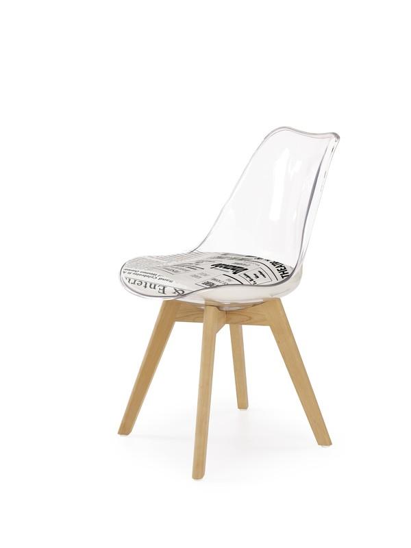 K246 stoličky polykarbonát / buk / sedadlo - bielo - čierne