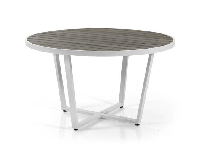 Hliníkový okrúhly stôl 130 cm Toulouse: bielo šedý hliník