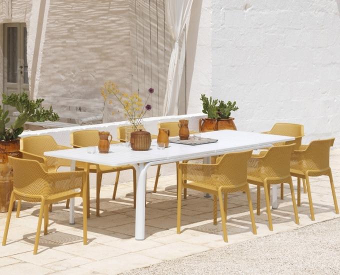 Rozkladací stôl 210-280 Alloro: biely rám, béžová doska