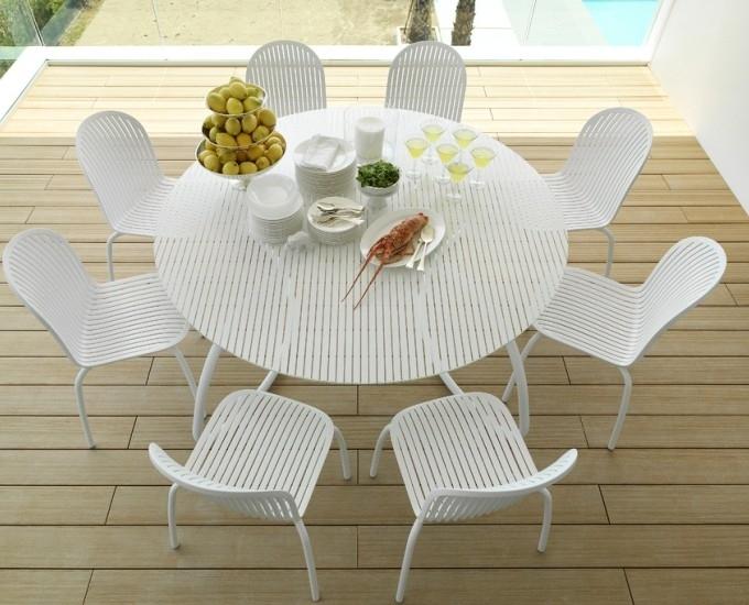 Sklenený okrúhly stôl 170 Loto Dinner: biely