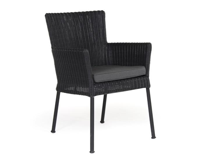 Ogrodos Stoličky z umelého ratanu Cluny: čierna