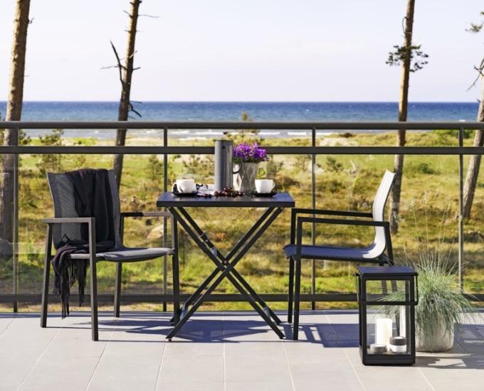 Ogrodos Hliníkový skladací hranatý stolík Albi: čierny