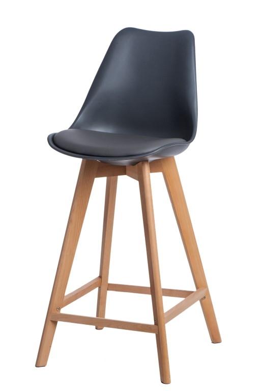 Stoličky barová Norden Wood vysoký PP tmavosivý