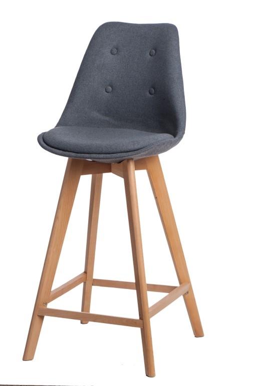 Stoličky barová Norden Wood vysoký polstrovanie šedej