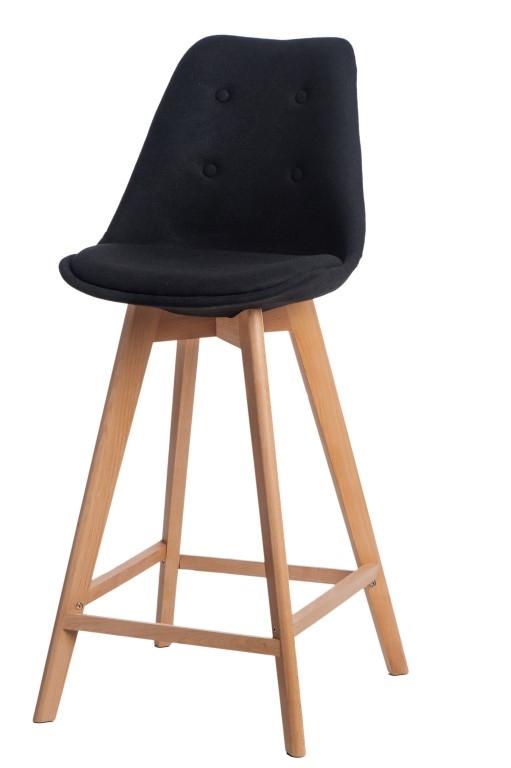 Stoličky barová Norden Wood vysoký polstrovanie čierne