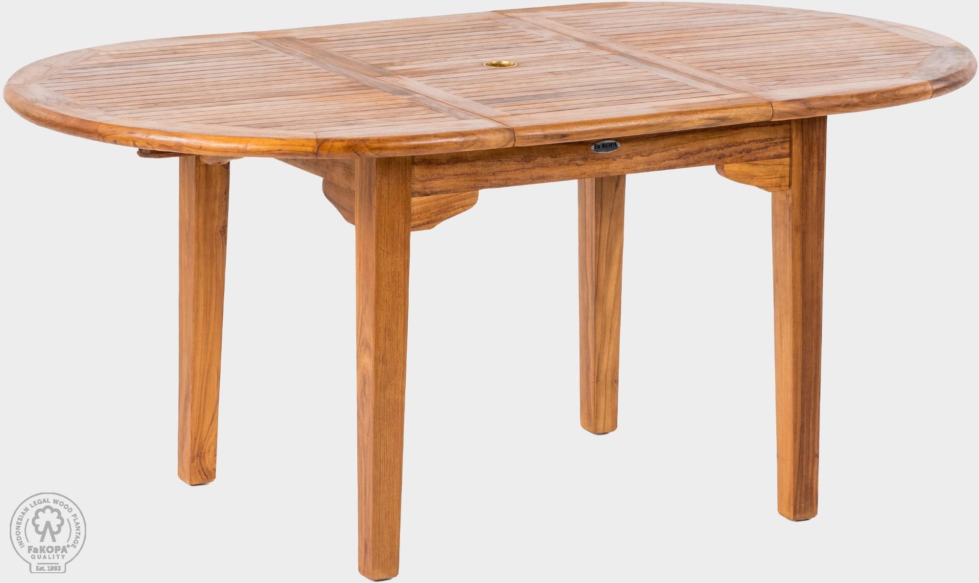 FaK Teakový stôl rozkladací 120x130-180 cm elegána