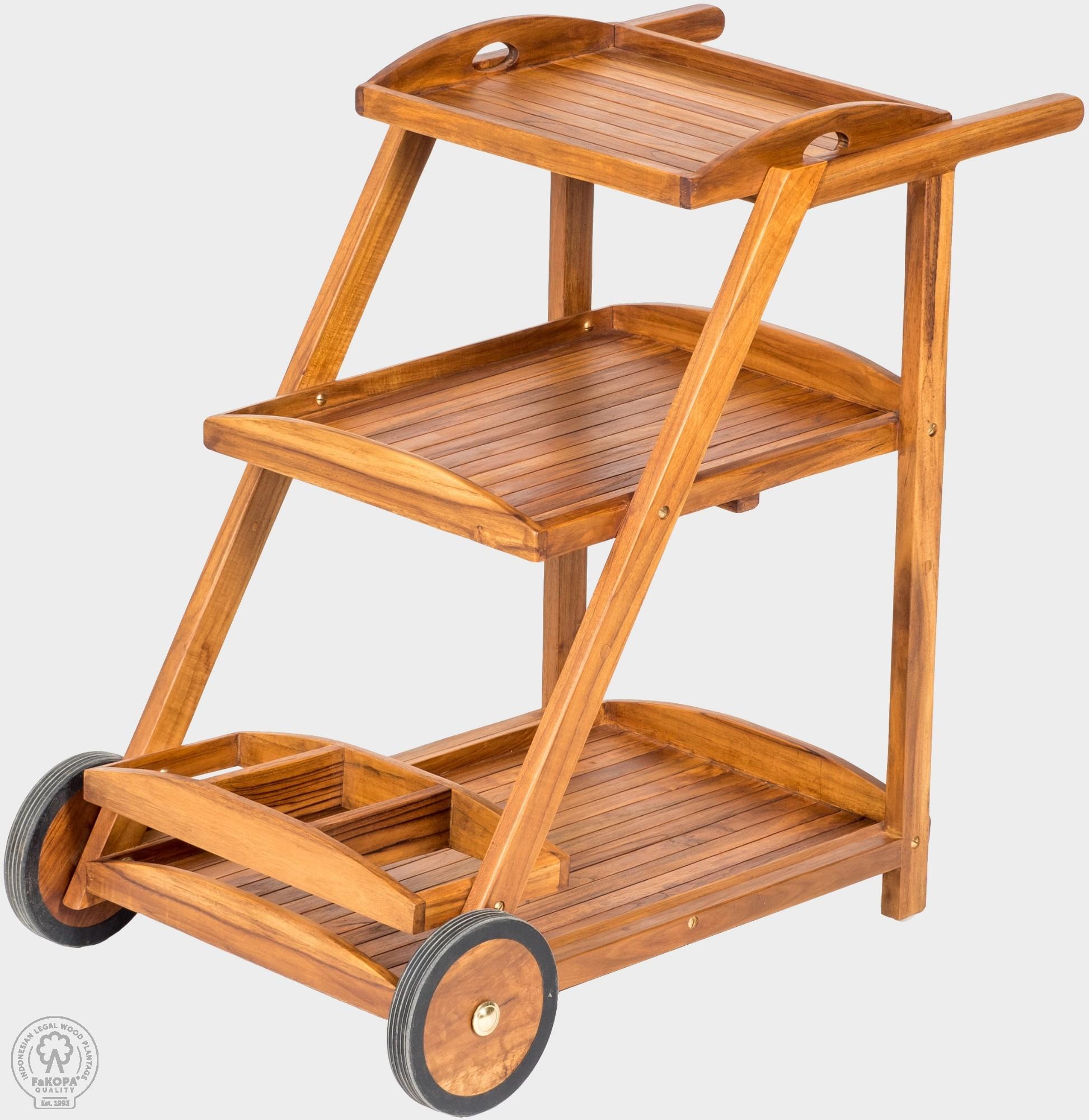 FaK Teakový servírovací stolík na kolieskach TEA