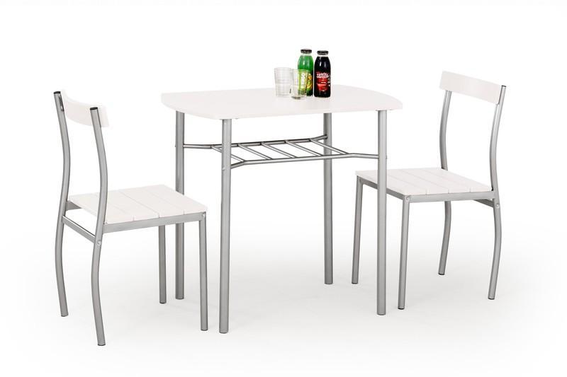 LANCE Sada: stôl + 2 stoličky, biela