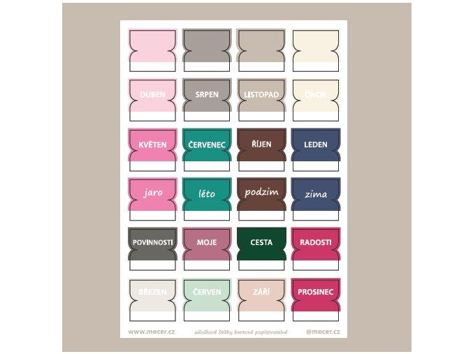 záložkové štítky barevné popisovatelné