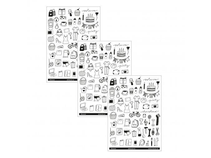 SADA 3ks ikonky velké černobílé