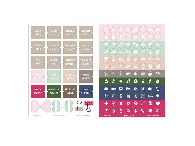 SET štítky a malé ikonky mix barev