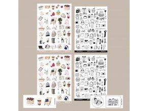 set plánovací ikonky malované
