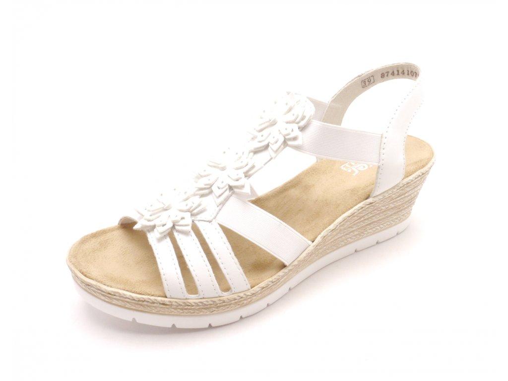f0a20ee0c1a4 Dámské bílé sandály na klínku 61949-80 - MODA ČAPEK