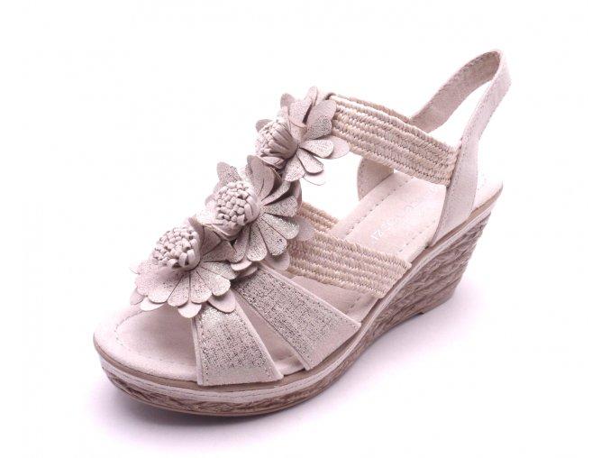 Dámské béžové sandály na klínku 2-28302-447