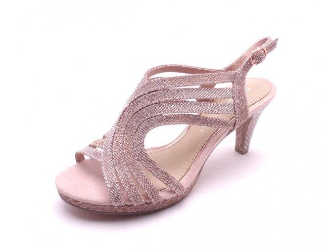 Dámské sandály na podpatku ROSE METALLIC 2-28329-592