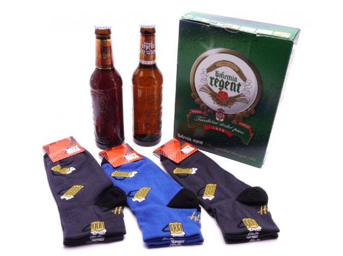 Dárkové balení 2 piva a troje nízké pivní ponožky