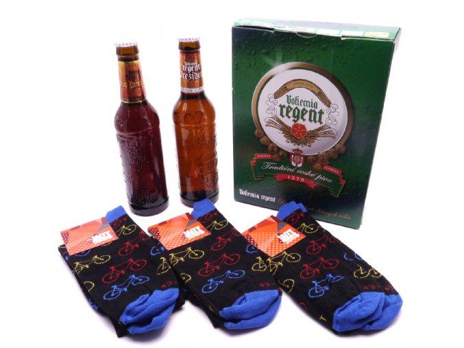 Dárkové balení 2 piva a troje ponožky pro cyklisty