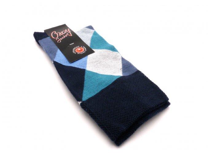 Ponožky kosočtverec velký - modrý