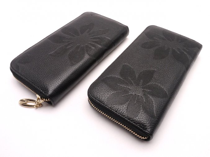 Kožená peněženka s květinami  MCPVKK-09 černá